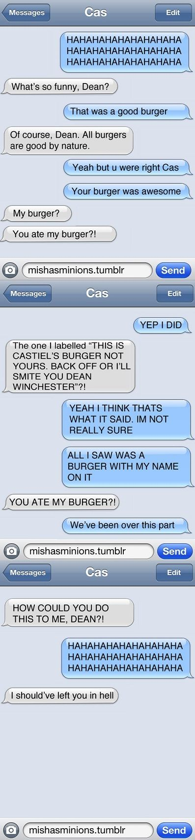 I should have left you in hell cas and dean texting