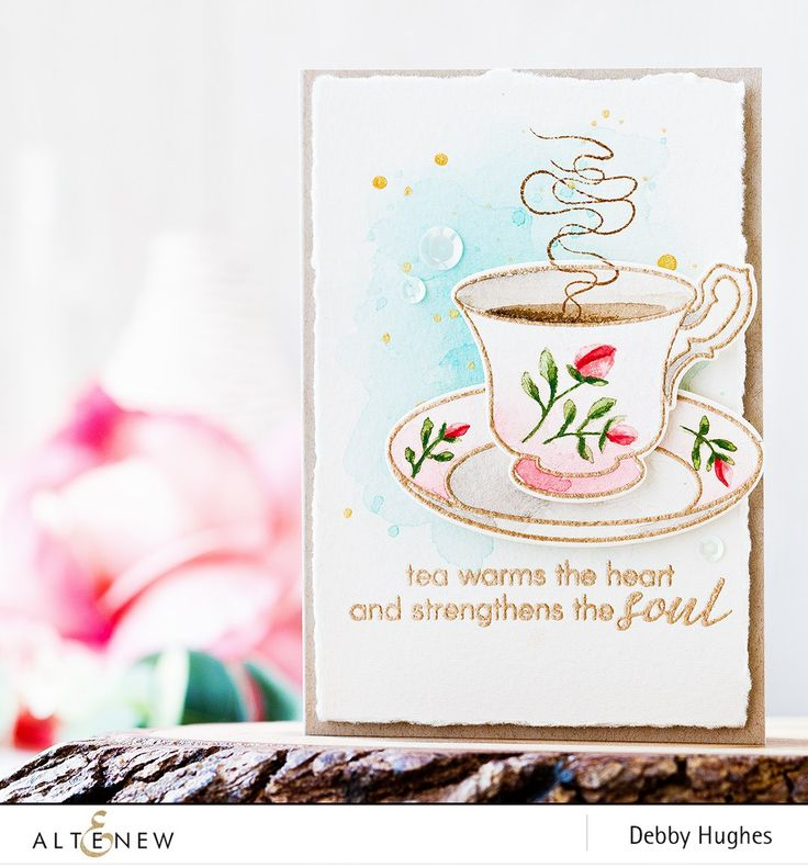 What a stunning card - Beautifully made with embossed gentle pastel pink teacup and pretty flowers.  http://altenewblog.com/2016/11/19/video-vintage-teacup-watercolor/