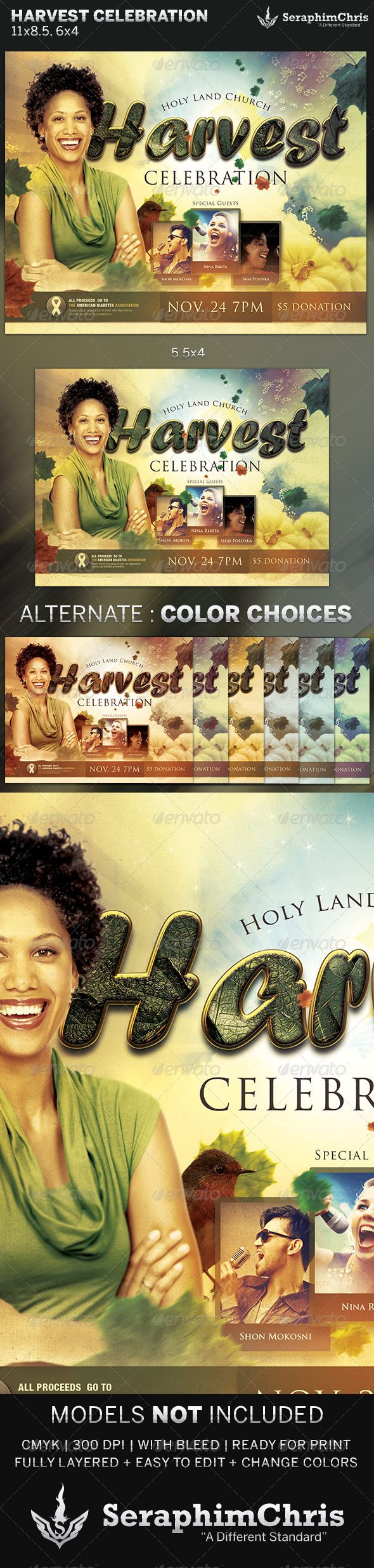 Harvest Celebration: Church Flyer Template — Photoshop PSD #Gospel Concert Flyer #nonprofit • Available here → https://graphicriver.net/item/harvest-celebration-church-flyer-template/5884290?ref=pxcr