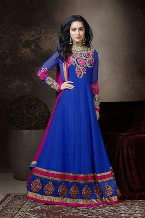 Shraddha Kapoor Georgette Blue Suit