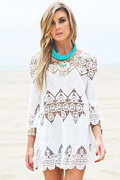 a39633410e3 Jeasona TM Women s White Lace Crochet Tunic Cover up