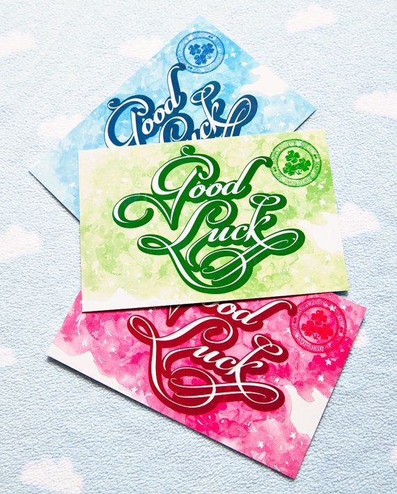 Set of three postcards with Good Luck wish. $2.00