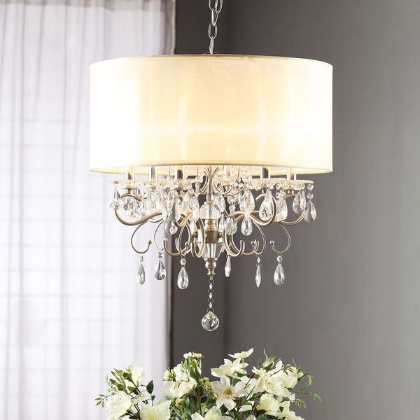 TRIBECCA HOME Silver Mist Hanging Crystal Drum Shade Chandelier - Overstock™ Shopping - Great Deals & 30 best images about Lampara on Pinterest   Chrome finish Flush ... azcodes.com