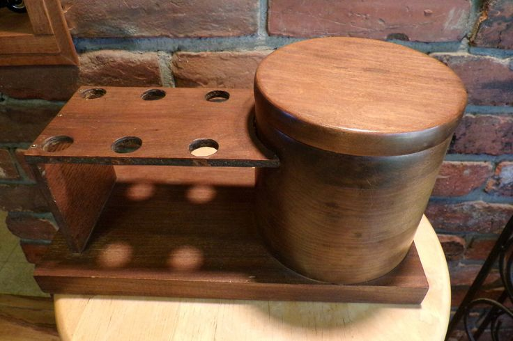 Vintage Pipe Rack Humidor, Pipe Stand Humidor, Vintage Handmade Humidor, 1970's prop, Wooden pipe rack humidor by Morethebuckles on Etsy