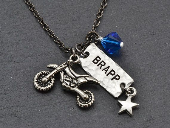 BRAPP Necklace  Race Number Dirt Bike Necklace  by MavenMetalsInc, $25.00