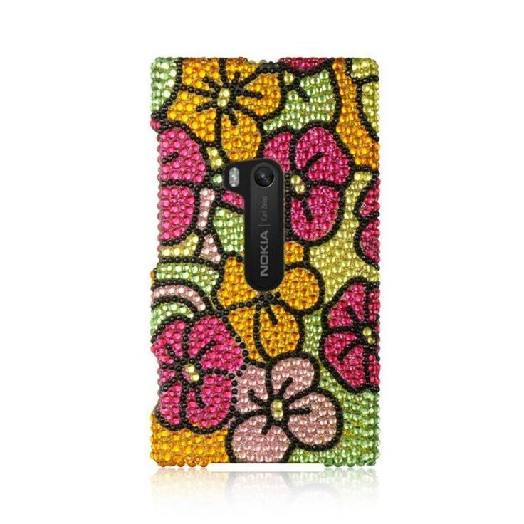 Insten Colorful Hawaii Flower Hard Snap-on Rhinestone Bling Case Cover For Nokia Lumia 920