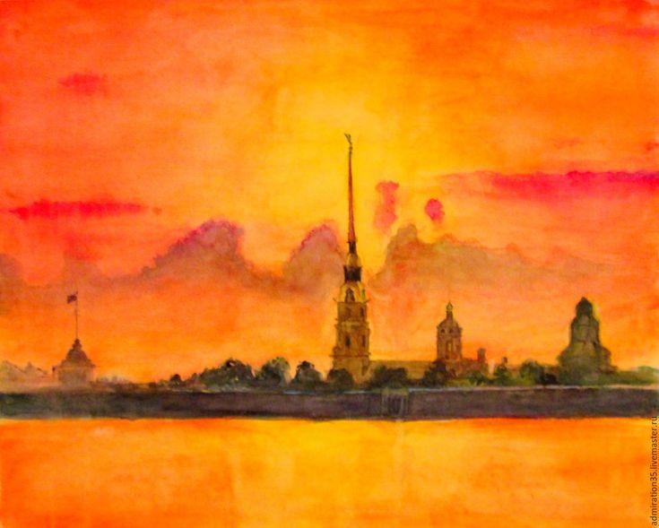 """Купить Картина акварелью """"Петропавловская крепость"""" - оранжевый, картина в подарок, картина, картина для интерьера"""