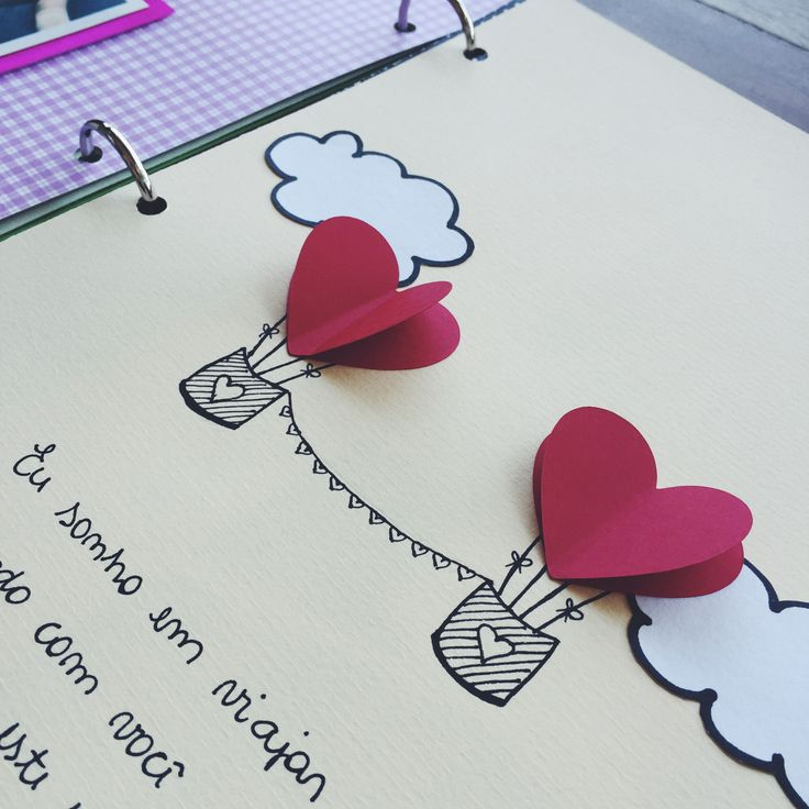 cute note, 3d hearts, clouds