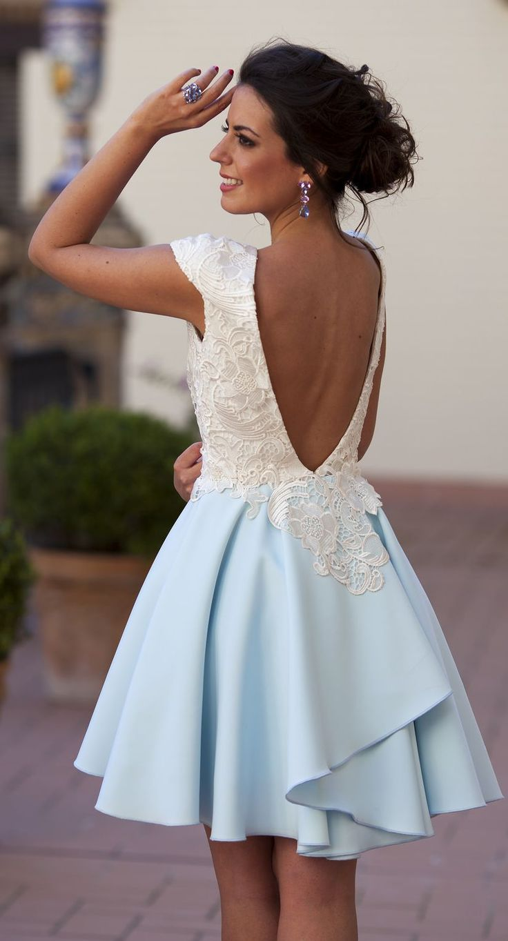 Pinned via Nuriyah O. Martinez | Silvia Navarro Light Blue And White Lace Accent New Collection Skater Dress