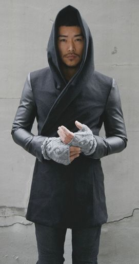 I LOVE this leather/cloth hoodie with interesting knitted fingerless gloves.