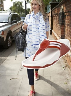 Louise Redknapp wearing FitFlop Walkstar sandals.