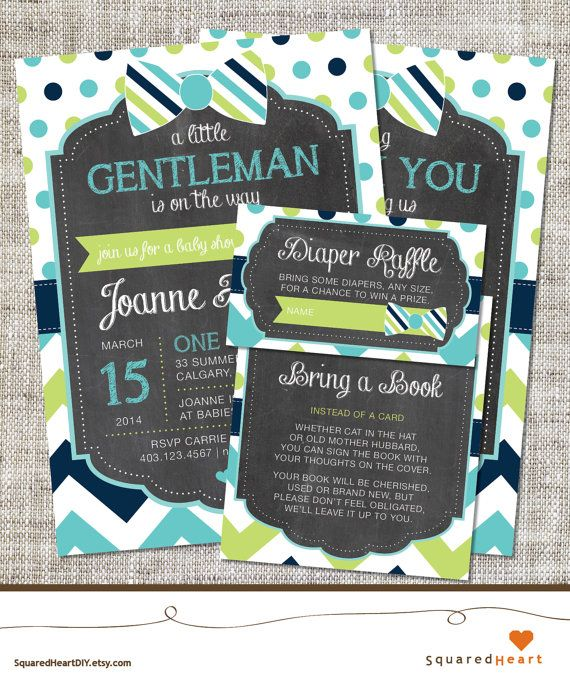 Bowtie Baby Shower Invitation, Bowtie Invitation, Bowtie, Teal, Lime Green, Navy Blue, Chevron, Polka Dots | Printable