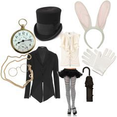 white rabbit halloween fancy dress costume from your wardrobe / Alice in wonderland tea / birthday party outfit
