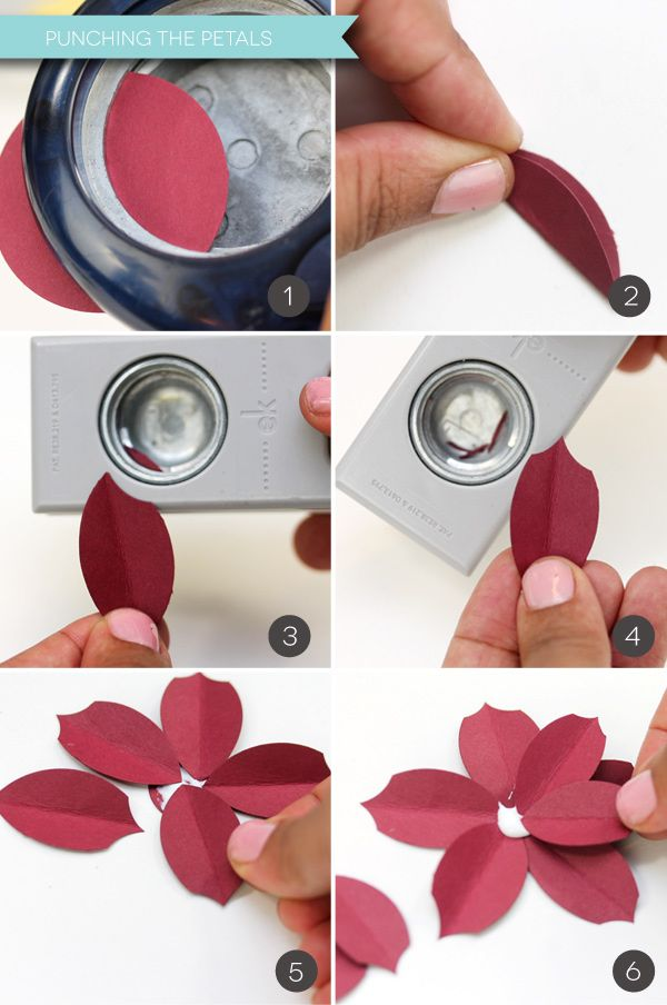 Easy Paper Punch Poinsettias | Damask Love Blog- could make holly leaves this way, too