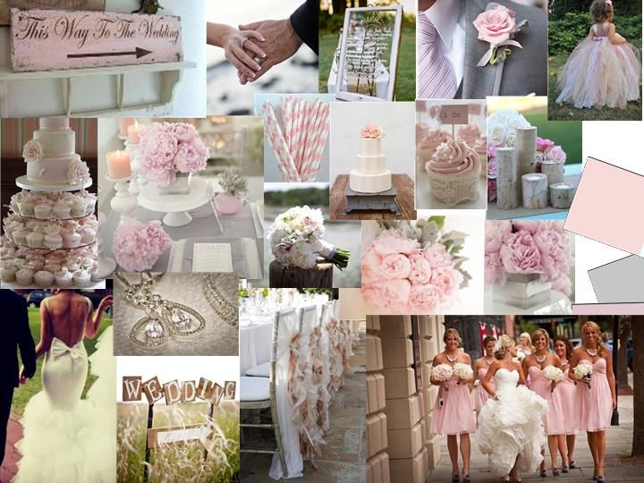 Whisper pink and grey : PANTONE WEDDING Styleboard : The Dessy Group