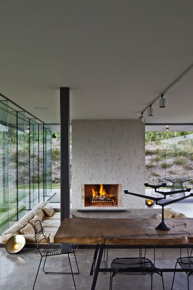 Fireplace in modern home
