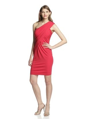 70% OFF Aida Women's One Shoulder Jersey Dress (Red)