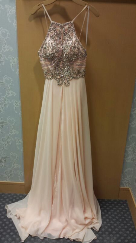 Cute backless light pink chiffon long senior prom dress with beautiful top details