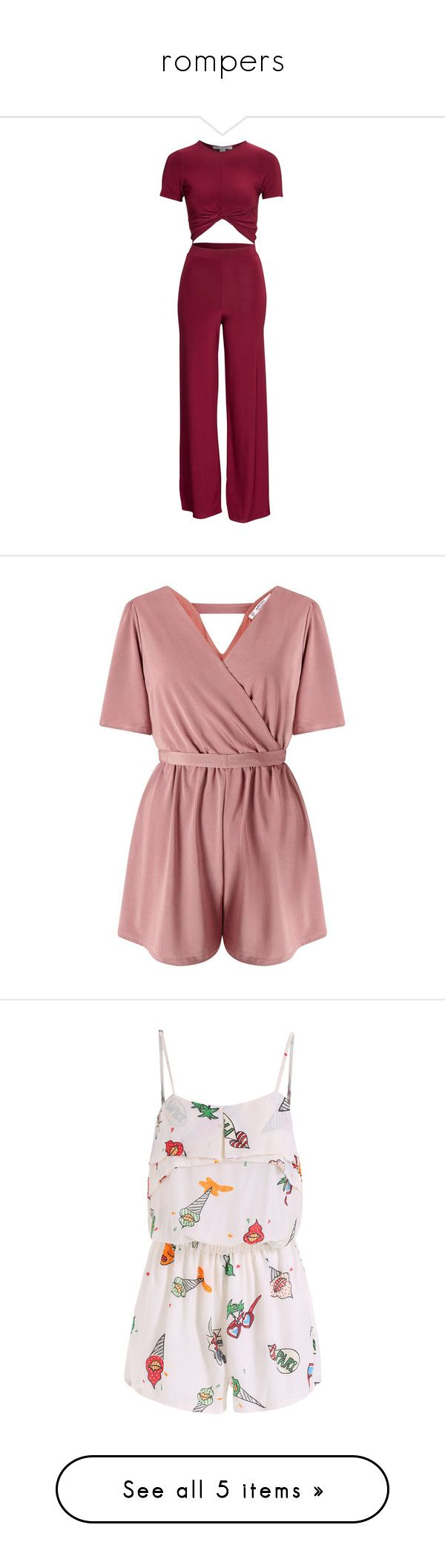 """rompers"" by x2013harrystylesx ❤ liked on Polyvore featuring romper, two piece, burgundy, party dresses, womens-fashion, high waisted two piece, nly trend, jumpsuits, rompers and dresses"
