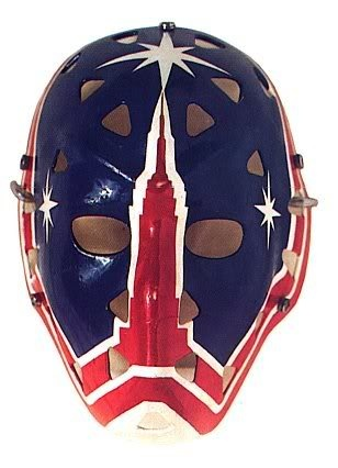 This mask is simple, yet effectively amazing. Worn by Steve Baker of the New York Rangers