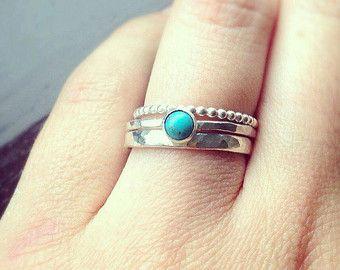 Apilamiento de anillos, anillo de turquesa, plata apila anillos, Set de anillos, joyas de turquesa, anillos de plata, diciembre birthstone, anillos de UK