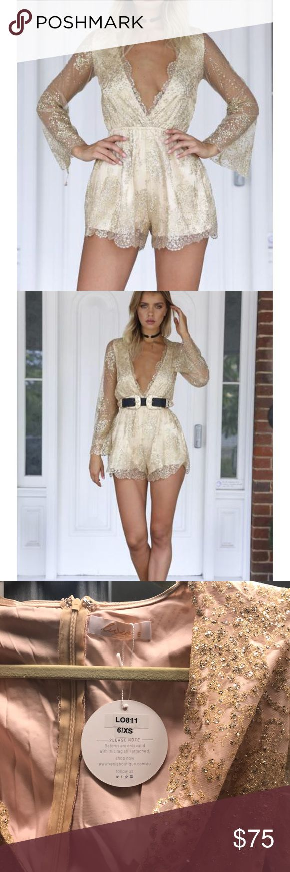 Gold playsuit Gold glitter playsuit! Brand new tags still on never worn. High quality. Deep v with stretch waist. It's too big on me and I don't have time to alter it before my birthday on Saturday so I'm selling. Xenia Boutique Dresses Mini