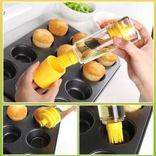 Silicona miel botella de aceite con el cepillo para barbacoa cocinar hornear barbacoa panqueque herramientas accesorios de cocina barbacoa botellas de almacenamiento(China (Mainland))