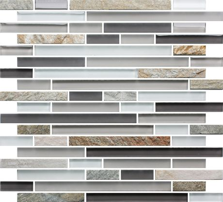 Slate Glass Mosaic Tile Linear White for Kitchen Backsplash, Bathroom, Feature Wall, and other applications. Free Shipping. Sample swatch available.