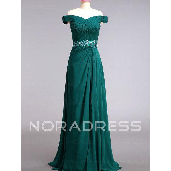 [81.46€] Abito Da Ballo romantico Spalle Coperte Fiori Pizzo Fuori dal... ($96) ❤ liked on Polyvore featuring dresses