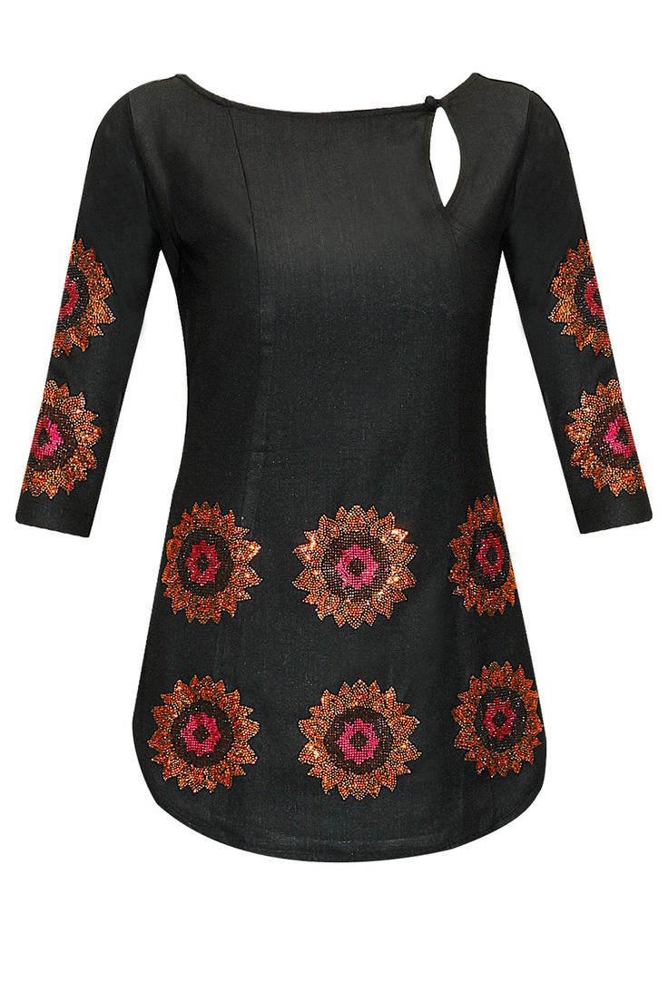 Black sunflower embroidered top available only at Pernia's Pop-Up Shop.