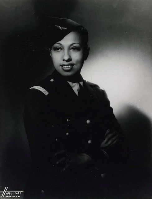 Josephine Baker in her World War II Uniform, c. 1945    		During World War II, Josephine served with the French Red Cross and was an active member of the French resistance movement.  The French Resistance was a group of individuals who helped to win the war against the German Nazis enemy with undercover work. Using her career as a cover Baker became an intelligence agent, carrying secret messages written in invisible ink on her sheet music. She was awarded honor of the Croix de Guerre, and received a Medal of the Resistance in 1946. In 1961 she received the highest French honor, the Legion d'Honneur from French president Charles deGaulle.: World War Ii, Red Crosses, Secret Messages, Josephine Baker, Messages Written, Sheet Music, French Resistance, French Red, Invisible Ink
