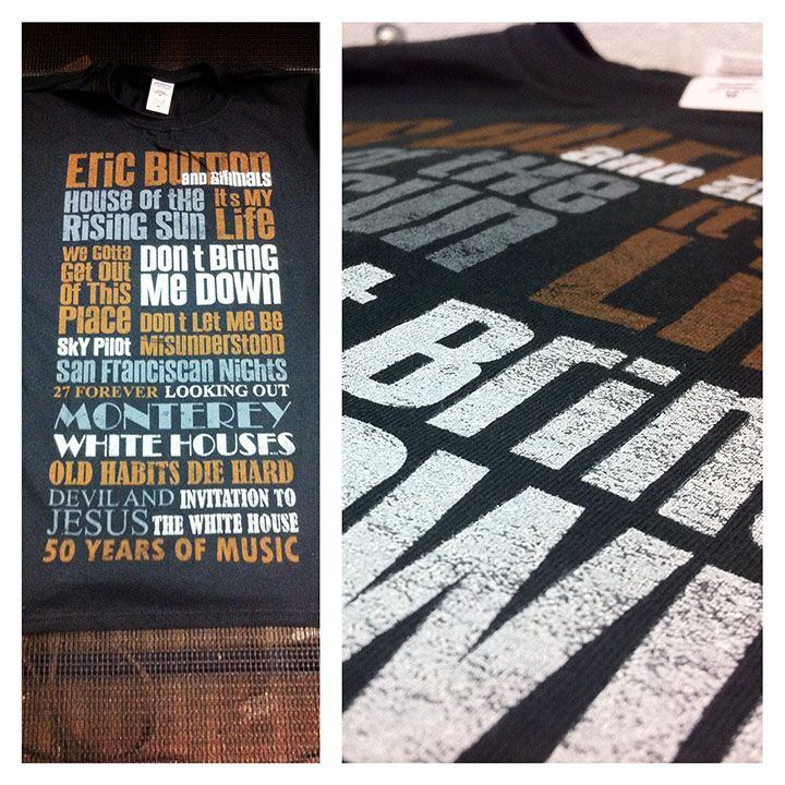With only six hours notice on a saturday we did this last minute Screen Printed Band Merch job for Eric Burton. We did the design based on songs from the album. Screen Printed With Soft Ink Plastisol with low feel 3 colors, no base 11 x 20.5 in on Gildan 64000 Black T-Shirts. Delivered to Massey Hall in Toronto