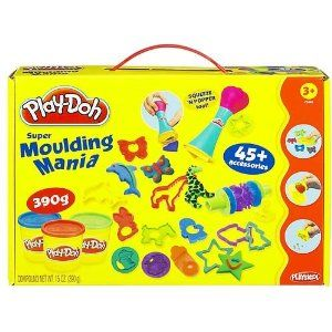 Play-Doh Super Molding Mania by Play-Doh. $9.99. (130g)45 cutters and molding accessories!. Ages 3+.. 3 cans of PlayDoh included!. Create your favorite animals and shapes with the Play-Doh Super Molding Mania kit. The possibilities are endless when you use your imagination. This kit features 45 cutters and accessories including the Squeeze 'n Popper Tool and 3 cans of Play-Doh. Layer different shapes to make everything your own. Dream in color! For ages 3 and up.