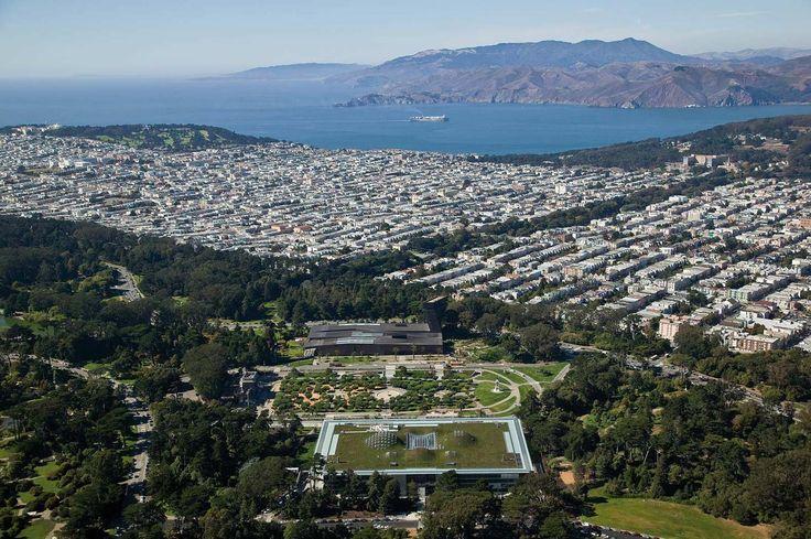 Калифорнийская академия наук Вид сверху на парк Золотые ворота