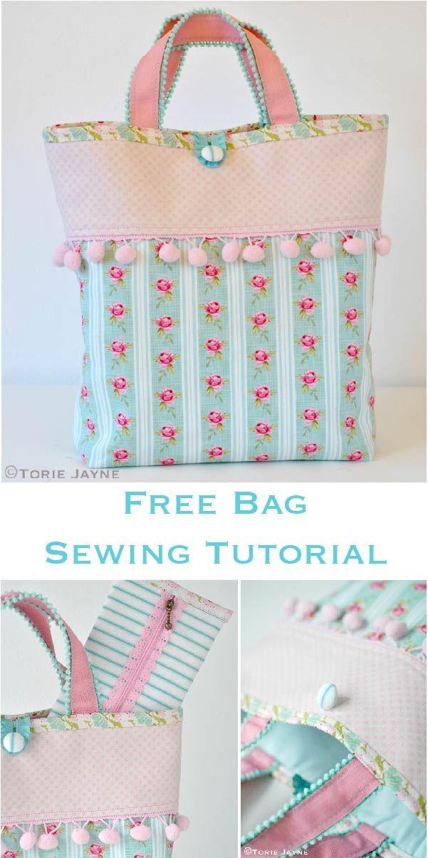 Free pom pom trim bag sewing tutorial   Bolsitos y estuches ...