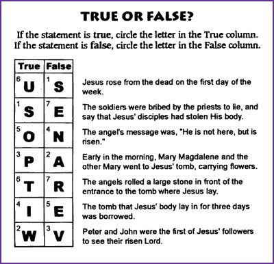 True or False (Resurrection) with answers