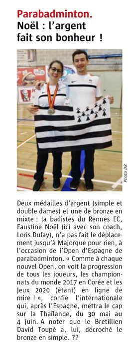 [REVUE DE PRESSE] Le Télégramme : Les couleurs de la Bretagne étaient présentes en Espagne, avec Faustine Noël qui a remporté trois médailles (deux en argent et une en bronze) lors de l'Open d'Espagne de parabadminton, ainsi qu'une médaille de bronze pour David Toupé ! #fashion #style #stylish #love #me #cute #photooftheday #nails #hair #beauty #beautiful #design #model #dress #shoes #heels #styles #outfit #purse #jewelry #shopping #glam #cheerfriends #bestfriends #cheer #friends…