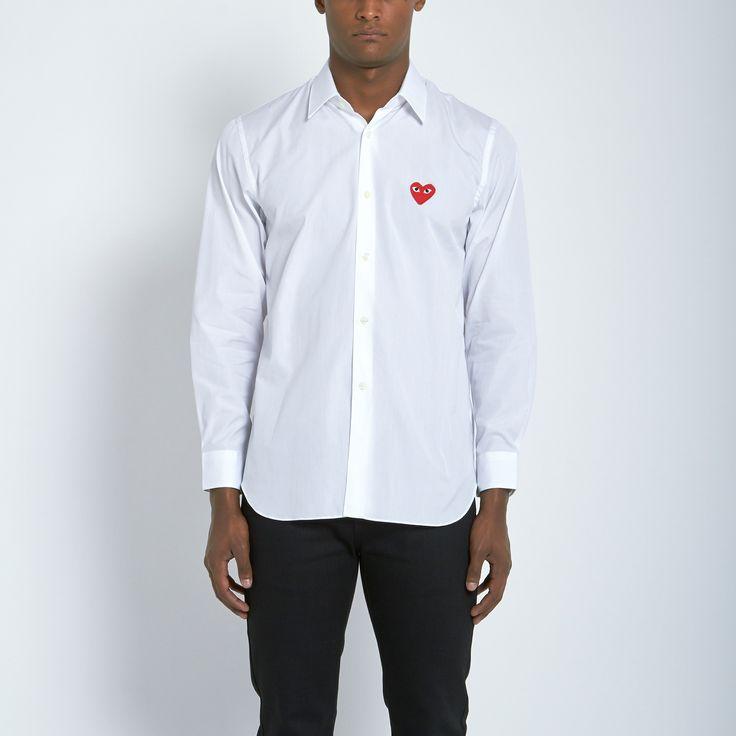 Comme des Garçons Play Cotton Broad Red Emblem Shirt in White | Atrium