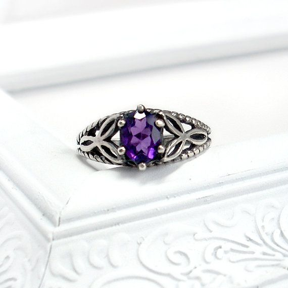Celtic Knot Ring: Amethyst and Sterling Silver - six prong 7x5mm oval, vintage silver setting, rope knot pattern, custom size