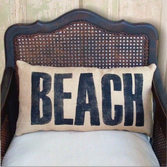 Beach   Burlap  Pillow by nextdoortoheaven on Etsy, $30.00