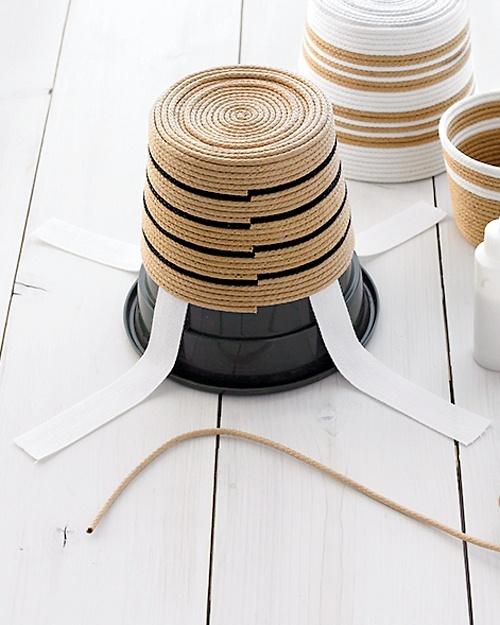Striped Rope Baskets - Martha Stewart Organizing Crafts