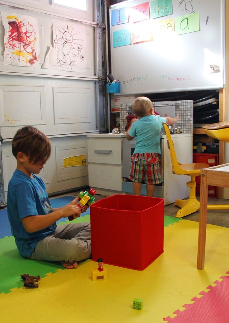 Garage turned playroom - what a cool idea!