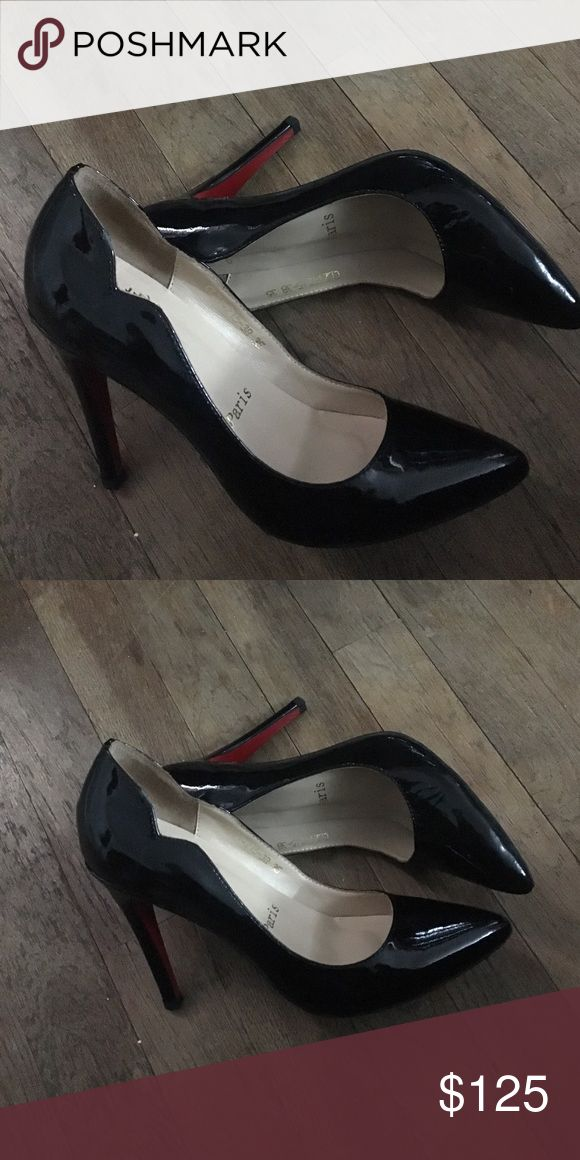 Black patent leather shoes Not Christian louboutin just have red bottoms similar to hot chicks just 100mm Shoes Heels
