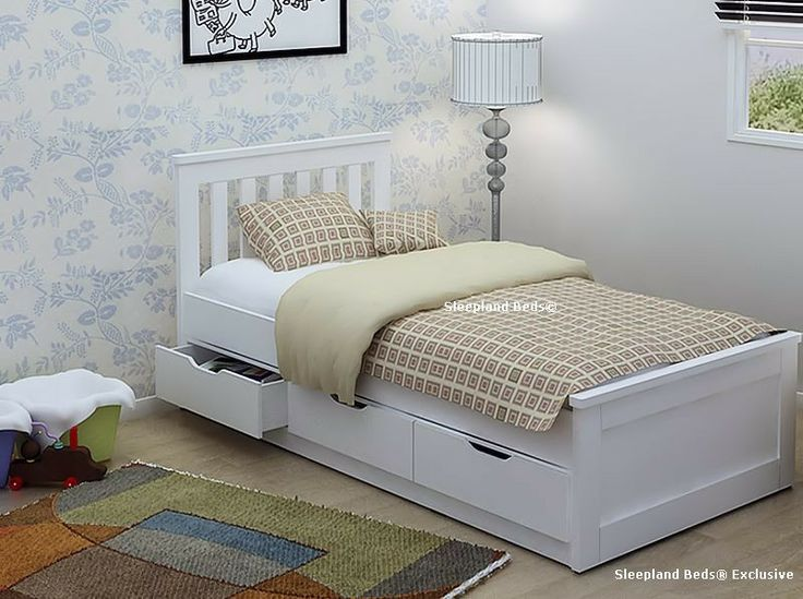 New Oak Or White Single Storage Cabin Bed Frame With Drawers   Optional  Mattress