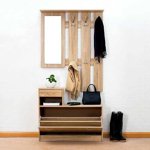 Elegant Oak Hall Tree Coat Rack