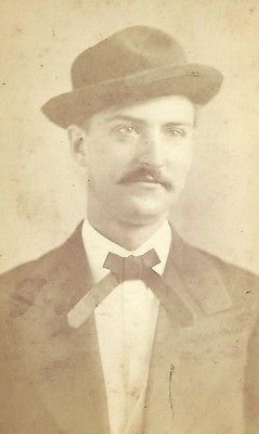 CDV PHOTO HANDSOME DAPPER GENTLEMAN NICE HAT TRIMMED MUSTACHE BOSTON