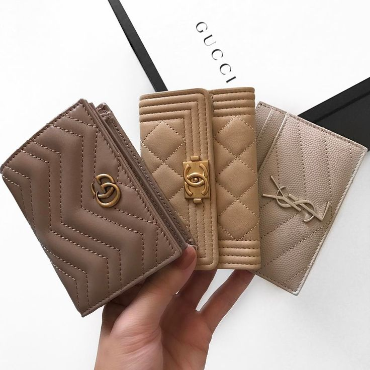 Gucci, Chanel, + YSL  |  Beige card holders  |  trying to choose which one to get is torture.