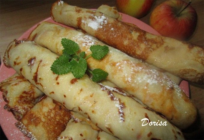 Tvarohové palačinky s jablky v testě