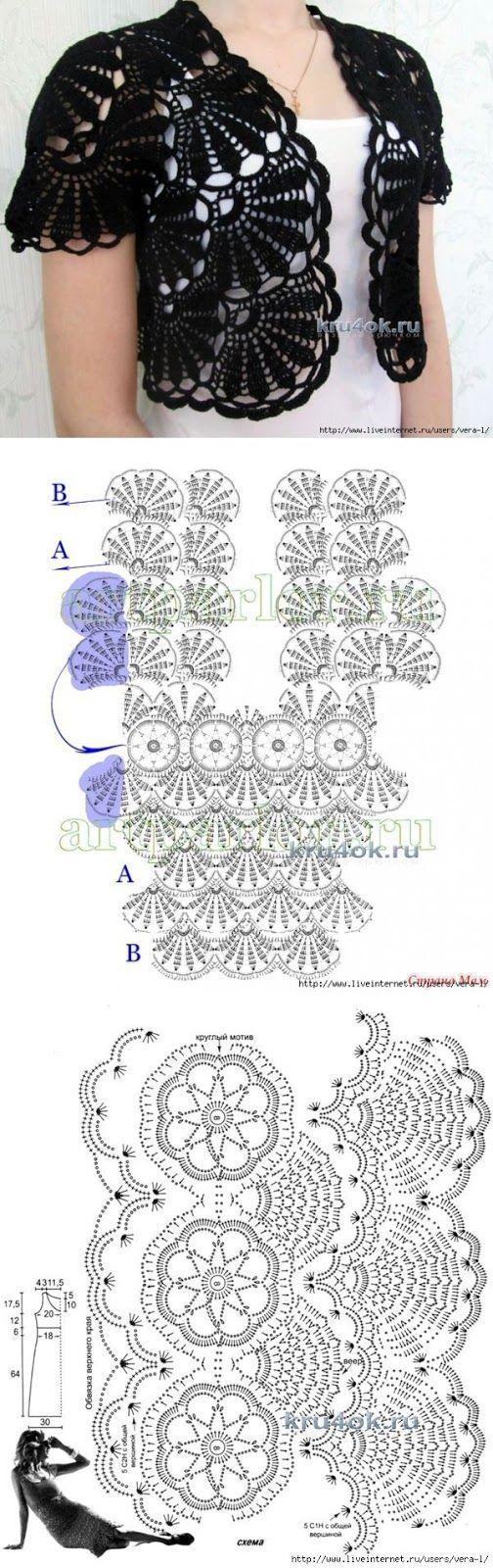 Letras e Artes da Lalá: Blusas de crochê, com receitas                                                                                                                                                                                 Mais