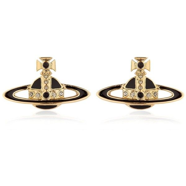 Vivienne Westwood Women Small Neo Bas Relief Stud Earrings ($105) ❤ liked on Polyvore featuring jewelry, earrings, swarovski crystal jewelry, vivienne westwood, vivienne westwood jewellery, brass earrings and swarovski crystal stud earrings
